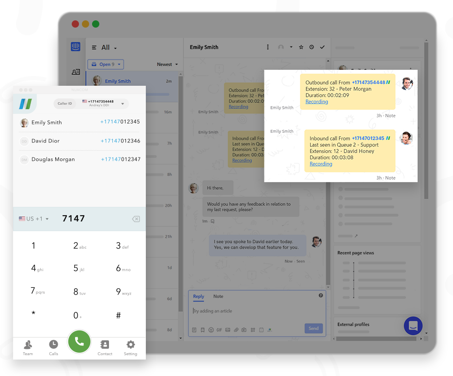 Intercom Integration NUACOM Calls and Chats